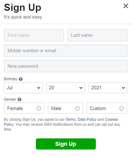 Register Facebook account