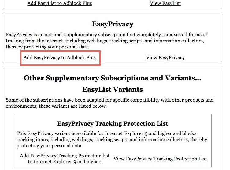 add easyprivacy to adblock plus
